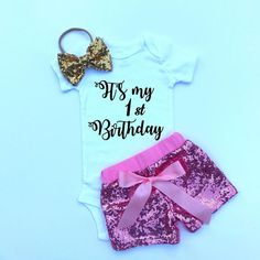 3733d91a2fdf Items similar to First birthday outfit, Sequin shorts, Glitter baby outfit, girl  glitter shirt, photo prop outfit, glitter baby shorts, baby set on Etsy