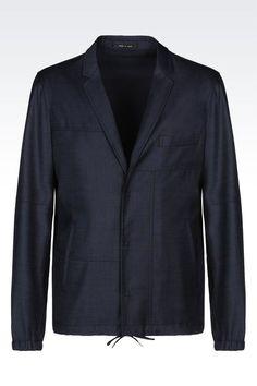 Emporio Armani Men DENIM EFFECT BLOUSON JACKET, Virgin Wool - Armani.com