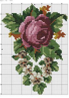 Gallery.ru / Фото #4 - 176 - kento / róża i białe kwiatki 3/3 Tiny Cross Stitch, Cross Stitch Flowers, Cross Stitch Charts, Cross Stitch Designs, Cross Stitch Patterns, Cross Stitching, Cross Stitch Embroidery, Embroidery Patterns, Hand Embroidery