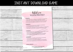 Pink What's On Your Phone Game Printable Bridal Shower | Etsy Bridal Shower Activities, Printable Bridal Shower Games, Wedding Shower Games, Bridal Shower Invitations, Wedding Calendar, Bachelorette Themes, Wishes For Baby Cards, Baby Shower Advice, Phone Games