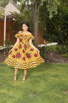 Tara Off-Shoulder African Print Midi Dress Dress Off Shoulder, Simple Dresses, Short Dresses, Latest African Styles, Egyptian Fashion, Printed Maxi Skirts, African Print Fashion, Business Dresses, African Women