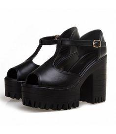 #Black #Chunky #Peep-Toe #T-Strap #Platform #HighHeels £32.99 @ http://shanghaitrends.co.uk/black-chunky-peep-toe-t-strap-platform-high-heels