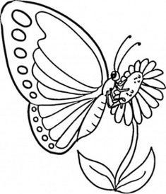 Gambar Bunga Kartun Hitam Putih dan Kupu-kupu