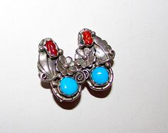 Navajo Sterling Silver Coral Turquoise Clip On Earrings Squash Blossom Design By Tim Yazzie Native American Signed Jewelry
