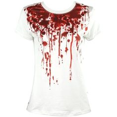 Womens Steampunk Tee Goth Emo Punk White Blood Splatter T-Shirt Top... ($71) ❤ liked on Polyvore featuring tops, t-shirts, gothic tops, punk rock t shirts, goth top, steampunk t shirts and gothic t shirts
