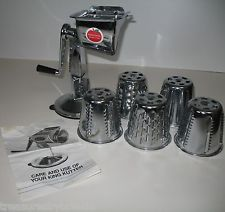 I SOLD IT ON EBAY: Healthy Gourmet King Kutter Kitchen Cutter or manual Food Processor. Made of Chrome and Nickel and includes 5 Cones. #foodprocessor #ck