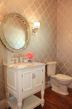 Hudson House Traditional Powder Room Guest Bath Wallpaper Home Decor