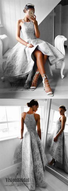 Halter Lace Prom Dress, Sleeveless Prom Dress, Grey Prom Dress, Zipper Up Prom Dress, Short Front Long Back Prom Dress, VB065 #promdress