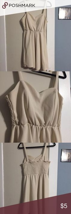 😍Charlotte Russe Dress😍 Off white/eggshell babydoll dress from Charlotte Russe. Stretchy so will form to your figure😊in good condition  **last pic clearly not the same dress, but just gives you a visual on how you can style it😊 Charlotte Russe Dresses Mini