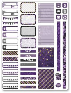 Purple/Gold Functional Kit Planner Stickers for Erin Condren Planner, Filofax…