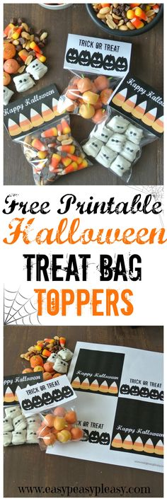 Free Printable Halloween Deal with Bag Toppers Fröhliches Halloween, Halloween School Treats, Halloween Treat Bags, Halloween Party Games, Halloween Goodies, Halloween Snacks, Holidays Halloween, Halloween Decorations, Halloween Science