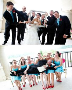 I love the shot of the Bride with the Groomsmen and the Groom with Bridesmaids!