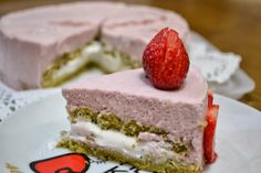 Green tea cake with strawberry mousse.   Recipe in the link!