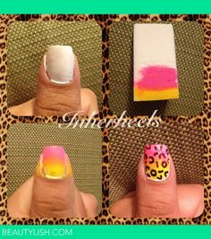 ombre leopard nails   easy and fun!