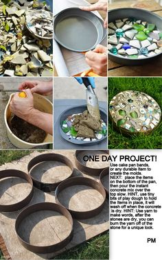 Making your own concrete stepping stones is easy, use items you have around the house, make a trip to the thrift store to find some miss matches glass and china for a colorful look. Old cake pans can be a great mold.