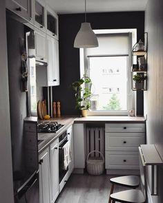 Kitchen Room Design, Home Room Design, Home Decor Kitchen, Kitchen Interior, Home Kitchens, Elegant Kitchens, Beautiful Kitchens, Long Narrow Kitchen, Small Kitchen Layouts