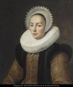 Date unknown - (after) Mierevelt, Michiel Jansz. van - Portrait Of Magdalena van Beresteyn (1585-1615), Half Length, Wearing A Gold Embroidered Dress With Vlieger And A Molensteenkraag, And A White Lace Bonnet
