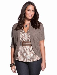 "This ""dolman-sleeve bolero"" is a nice neutral color. The curves in the bolero's shape flatter the hourglass figure."