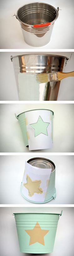 DIY. Cubo de metal con chalk paint y stencil de estrella. Recycle Cans, World Crafts, Hand Painted Furniture, Diy Painting, Chalk Paint, Diy Room Decor, Shabby, Diy Crafts, Handmade