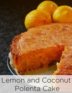 Lemon and Coconut Polenta Cake Recipe. This is a twist on the classic Italian lemon polenta cake but the addition of the coconut not only adds a delicious flavour but also a great texture. This sweet dessert cake is great with afternoon tea or coffee. Lemon Recipes, Baking Recipes, Sweet Recipes, Cake Recipes, Dessert Recipes, Gluten Free Cakes, Gluten Free Baking, Gluten Free Desserts, Lemon Polenta Cake