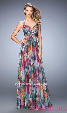 Long Print Sweetheart Open Back La Femme Prom Dress Style: LF-22355