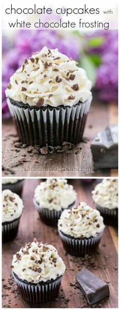 A decadent chocolate cupcake with a billowy white chocolate frosting @NatashasKitchen