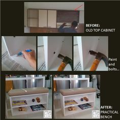 When you decide to update your kitchen, think about things you can do with the old cabinets. Here's an example, I took the upper cabinet and working a little (painting, hammering support nails, adding a table and a cushion) and I have a very nice and multipurpose bench.   Contact me:  fmcbdesigns@hotmail.com      fmcbdesigns@gmail.com  Instagram: fmcbdesigns        Pinterest: fmcbdesigns Facebook: fmcbdesigns