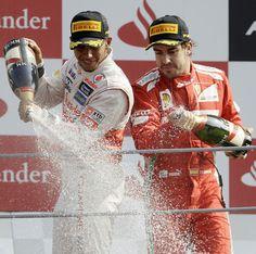 Lewis Hamilton and Fernando Alonso celebrate on the podium | Formula 1 photos | ESPN F1