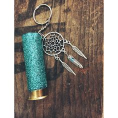 Teal Glitter 12 Gauge Shotgun Shell Keychain with by AdelynElaines