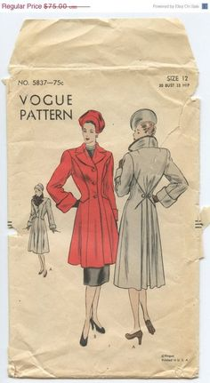 1940s Vintage Sewing Pattern Vogue 5837 Misses Fitted Coat with Notched Collar…