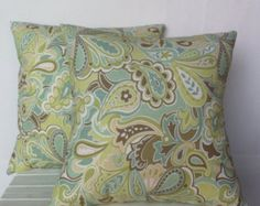 Blue & Green Pillows by Maria on Etsy