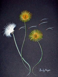 Dandelions 1 - (watercolor) by Sandy Wager - Print available for purchase Hand Embroidery Stitches, Silk Ribbon Embroidery, Hand Embroidery Designs, Embroidery Art, Dandelion Art, Diy Crafts How To Make, Pattern Coloring Pages, Japanese Embroidery, Egg Carton Crafts