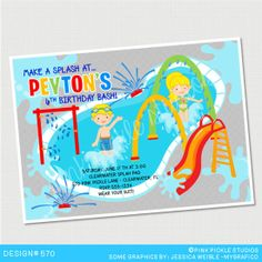 Splash Pad Spray Park Birthday Invitation or Thank You Card. Custom Personalized DIY Party Printables / Design No. 570