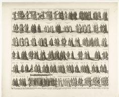 Samuel Moore | Optocht met Willem III en Mary naar de kroning in Westminster Abbey, 1689, Samuel Moore, Christopher Brown, Norfolke & Marshall, 1689 | Optocht met prins Willem III en prinses Maria II Stuart van Westminster Hall naar de kroningsceremonie in Westminster Abbey, 21 april 1689. De stoet afgebeeld in zes rijen, bij alle figuren zijn titel of functie vermeld.