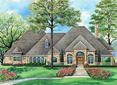 Stately European Home Plan - 36295TX | 1st Floor Master Suite, Butler Walk-in Pantry, CAD Available, Den-Office-Library-Study, European, French Country, Luxury, Media-Game-Home Theater, PDF, Sloping Lot | Architectural Designs