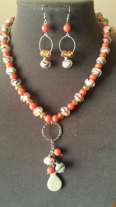 Gorgeous necklace set with wire wrapped dangling beads from the circle pendant ♡