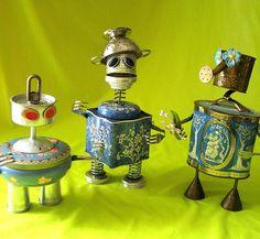 robot assemblage sculptures