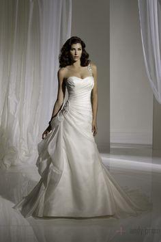Chapel Train Picks Up One Shoulder A-line Wedding Dress