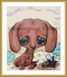 red dachshund dog cross stitch pattern - Licensed Sugar Fueled by UnconventionalX on Etsy