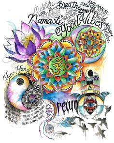 Shop wearable art from Electro Threads. Ying Y Yang, Yin Yang Art, Yoga Studio Design, Electro Threads, Tableau Pop Art, Aquarius Art, Hippie Art, Psychedelic Art, Mandala Art