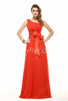 Simple Red A-line One Shoulder Long Graduation Dress - Prom Dresses Design Cheap Evening Dresses, Prom Dresses, Formal Dresses, Graduation Dresses Long, Pleated Fabric, Red Chiffon, Designer Dresses, One Shoulder, Glamour