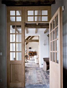 Farmhouse, restored by architect Xavier Donck, image via Corvelyn as seen on linenandlavender.net - http://glossi.com/linenlavender/16529-linenandlavendernet-volume-no-01-issue-01?page_id=141644&sb=linenlavender - -http://www.linenandlavender.net/2013/03/reclaimed-wood-floors-by-corvelyn-be.html