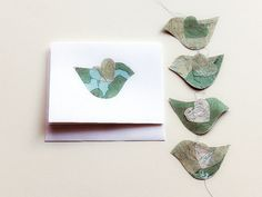 map paper bird mobile greeting card heart modern by RedorGrayArt, $12.00
