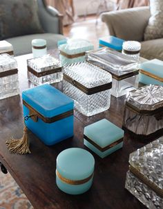 House Beautiful.  Vintage glass/ crystal box collection