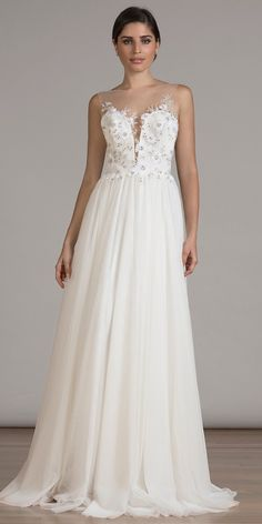 """""""Cherry Blossoms"""" embroidered bodice w/deep-v illusion neckline on soft tulle A-line in Ivory"""