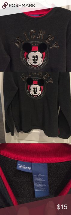 DisneyMickey comfy sweater Disney Mickey gray sweater . 100% polyester. Great condition. Disney Sweaters