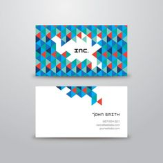Colorful triangles modern business card