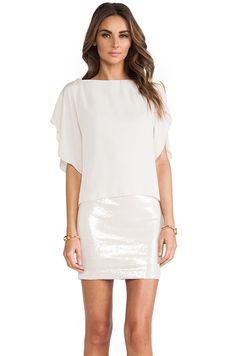 Halston Heritage Sequin Detail Dress in Shell from REVOLVEclothing