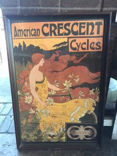 Framed Mid-Century American Crescent Cycles Print