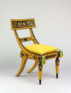 Chair Attributed to John Finlay (active ca. This brilliantly conceived and handsomely executed chair derives its broad, deeply curved crest tablet from the ancient Greek klismos form, and its turned front legs from Roman prototypes. Funky Furniture, Unique Furniture, Painted Furniture, Furniture Design, Gothic Furniture, Chair Design, Silla Art Deco, Muebles Art Deco, Antique Chairs